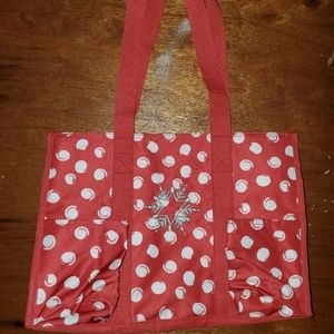 Thirty one Zip Top Utility Tote with Snowflake